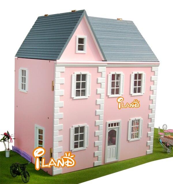 Wonderlijk 1:12 roze villa diy groot poppenhuis 3D miniatuur houten ST-82
