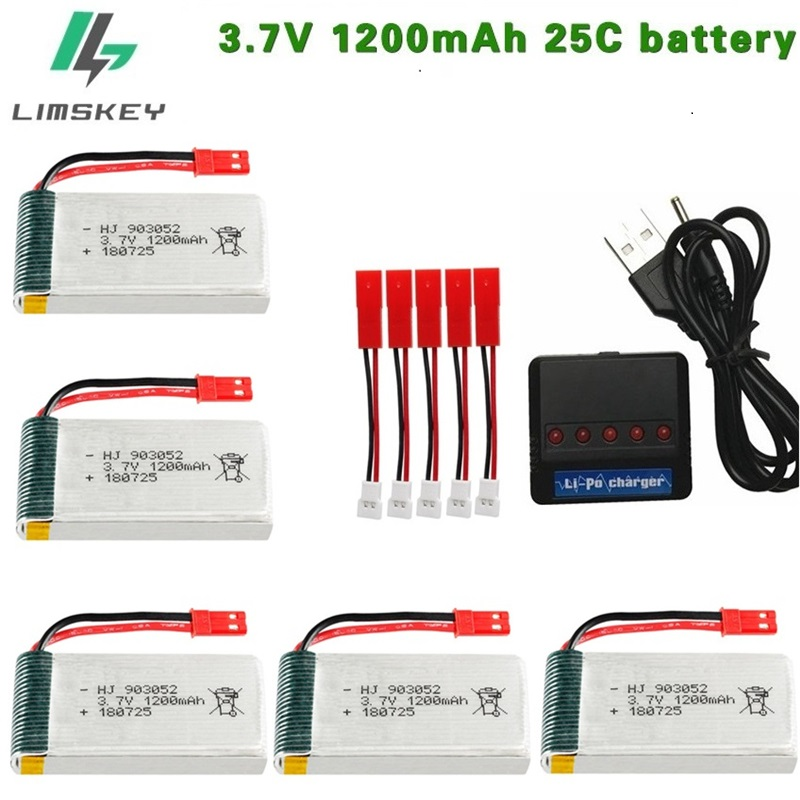 3.7V 1200mAh 25c Lipo Battery For MJXRC T64 T04 T05 F28 F29 T56 T57 RC Camera Droens Qaudcopter Spare Battery Parts With Charger