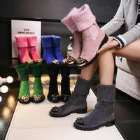 2018 New Follwwith Brand Pink knitting Patchwork Women Boots Flats Horse Hair Metal Crystal Rhinestone Shoes Woman Knee High