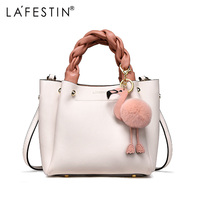 LAFESTIN Handbag for Women Shoulder Bag Genuine Leather Fashion Flamingo Hairball Tote Bag Luxury Designer Bolsa Feminina