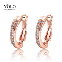 Rose Gold Color Earring AAA Cubic Zirconia Hoop Earrings with Smooth Circle Fashion Design Earring Suitable for Parties