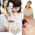 New fashion women crocheted shawl hook flower lace cape tops openwork smock fringed waiscoat