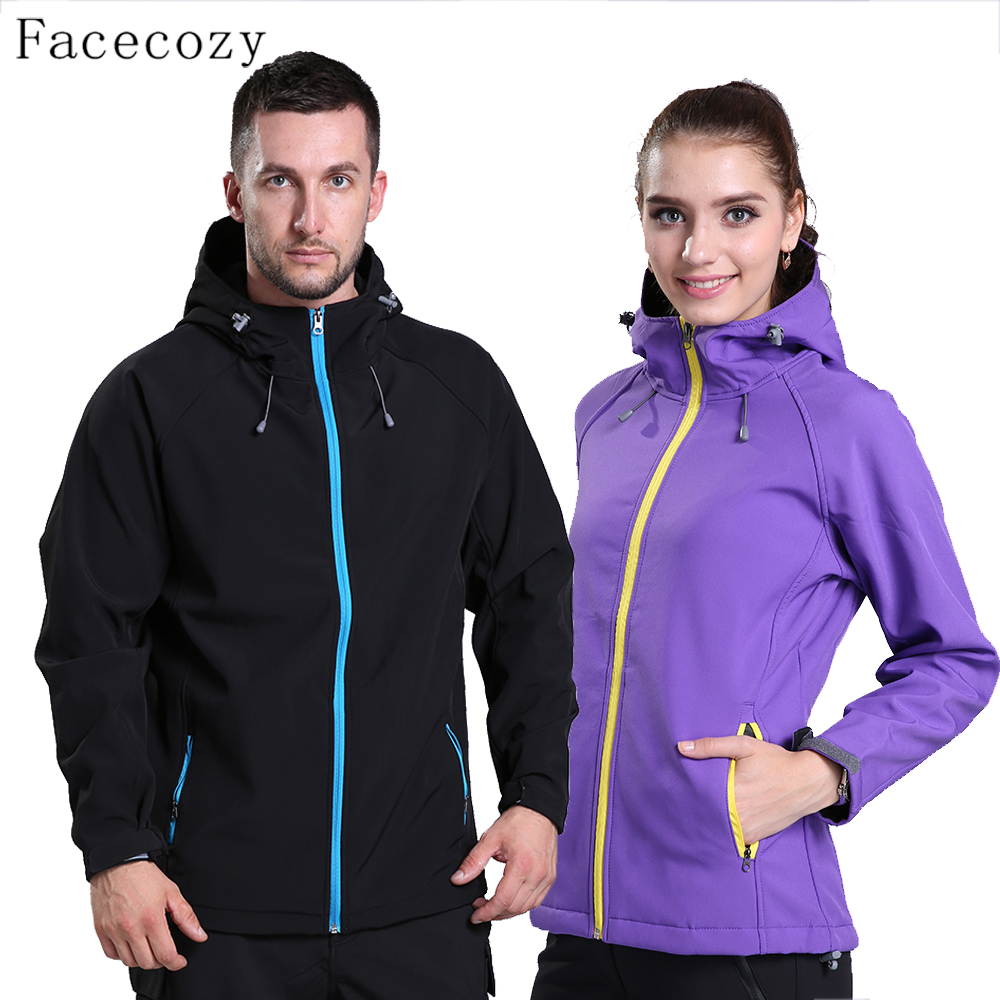 Facecozy Women&Men Autumn Winter Outdoor Sports Softshell Jacket Couples Windproof Inner Fleeces Hiking Camping Coats Clothes