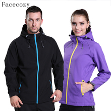 Facecozy Women&Men Autumn Outdoor Sports Softshell Jacket Couples Windproof Inner Fleeces Hiking Clothes