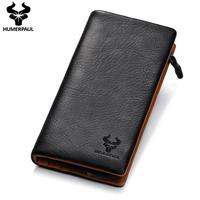 2019 New Design Genuine Leather Men's Long Wallet Male Day Clutch Casual Fashion High Quality Purse Soft Cards Holder