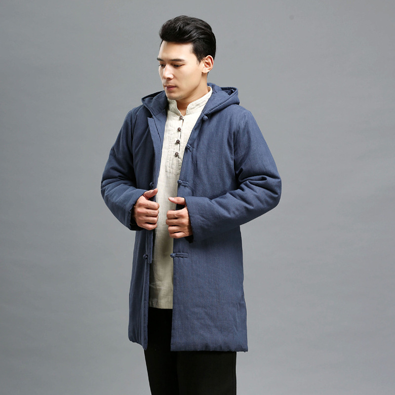 Long Coat To Keep Warm In The Men's Cotton-padded Jacket Cotton Belt Hat Retro Source Of Cotton-padded Clothes Factory europe and the united states long sleeve hooded keep out the cold winter to keep warm and comfortable cotton coat