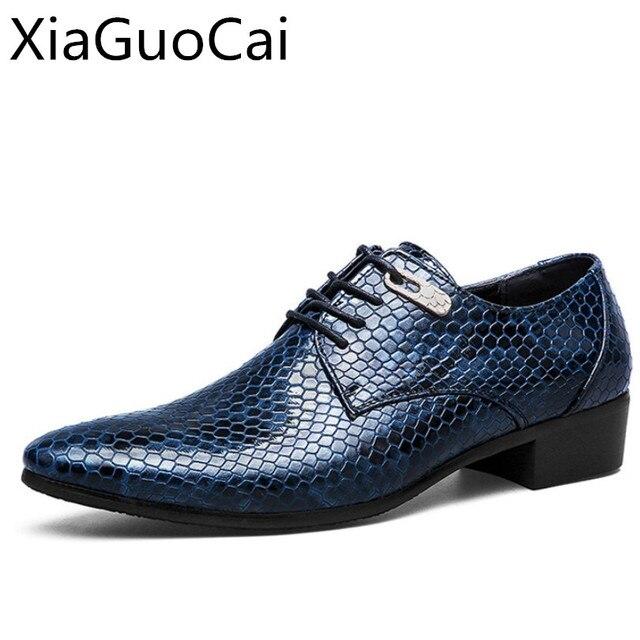 Hommes d'or Chaussures Flats véritables chaussures de mariage en cuir pour hommes d'affaires formelles homme Oxfords le travail qnoevdYl