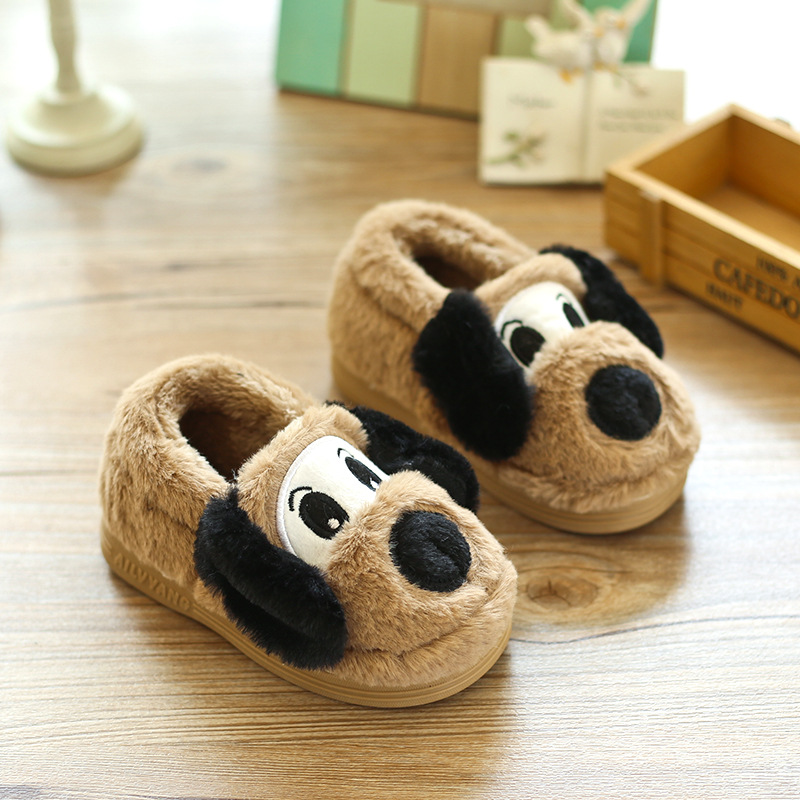 Winter Toddler Boys Girls Slippers Cute Cartoon Dog Kids Home Shoes Comfortable Warm Winter Cotton Shoes Home Slippers