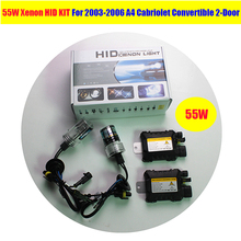 1 Set 55W Xenon Ballast + Bulb White HID KIT 6000K Car Headlight For 2003-2006 A4 Cabriolet Convertible 2-Door