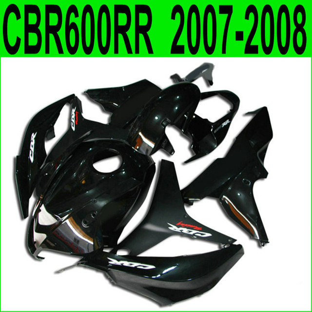 US $335 8 8% OFF|Injection molding hot sale fairing kit for Honda CBR600RR  07 08 glossy black fairings set CBR600RR 2007 2008 BY16-in Covers &