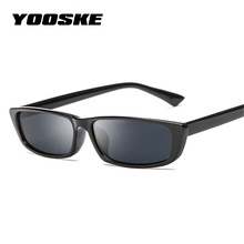 YOOSKE Vintage Rectangle Sunglasses Women Cat Eye Designer Ladies Small Frame Black Red Sun Glasses Brand Retro Skinny Eyewear