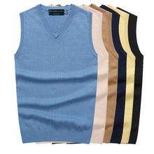 Men Sleeveless Sweater Vest Autumn Spring 100% Cotton Knitted Basic Male Classic V neck Tops 2019 New M-3XL