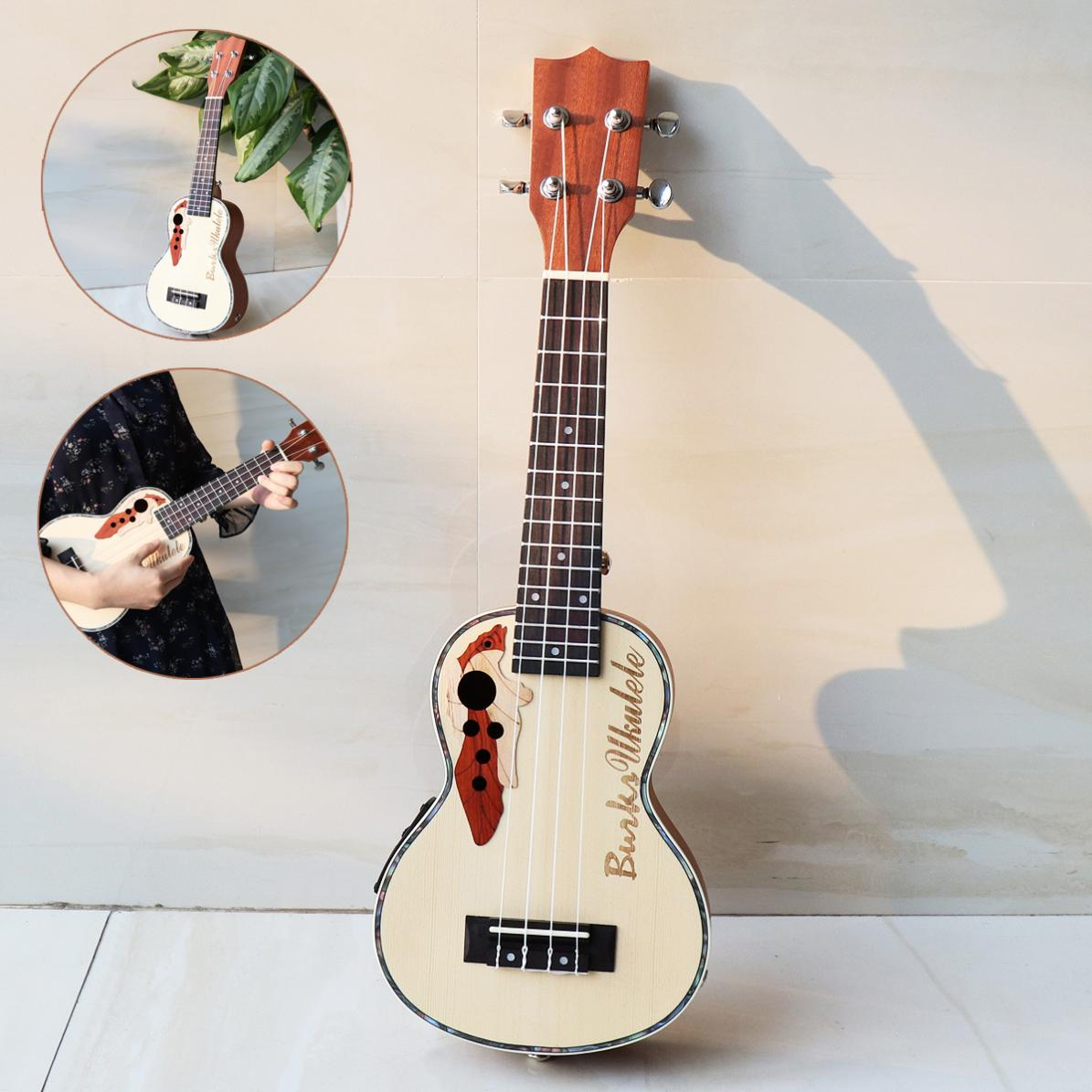 21 Inch Spruce EQ Soprano Ukelele 15 Fret Electroacoustic 4 Strings Guitar Musical Instrument with Built