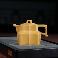 Dark red Enameled Pottery Teapot Yixing Raw Ore Section Niyuding 230 Milliliter Square Tendon Pattern Faucet Teapot