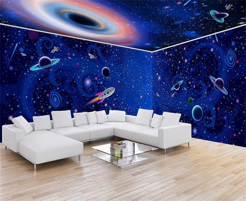 цены 3d wallpaper photo wallpaper custom kids mural living room blue cosmos space painting sofa TV background wall non-woven sticker