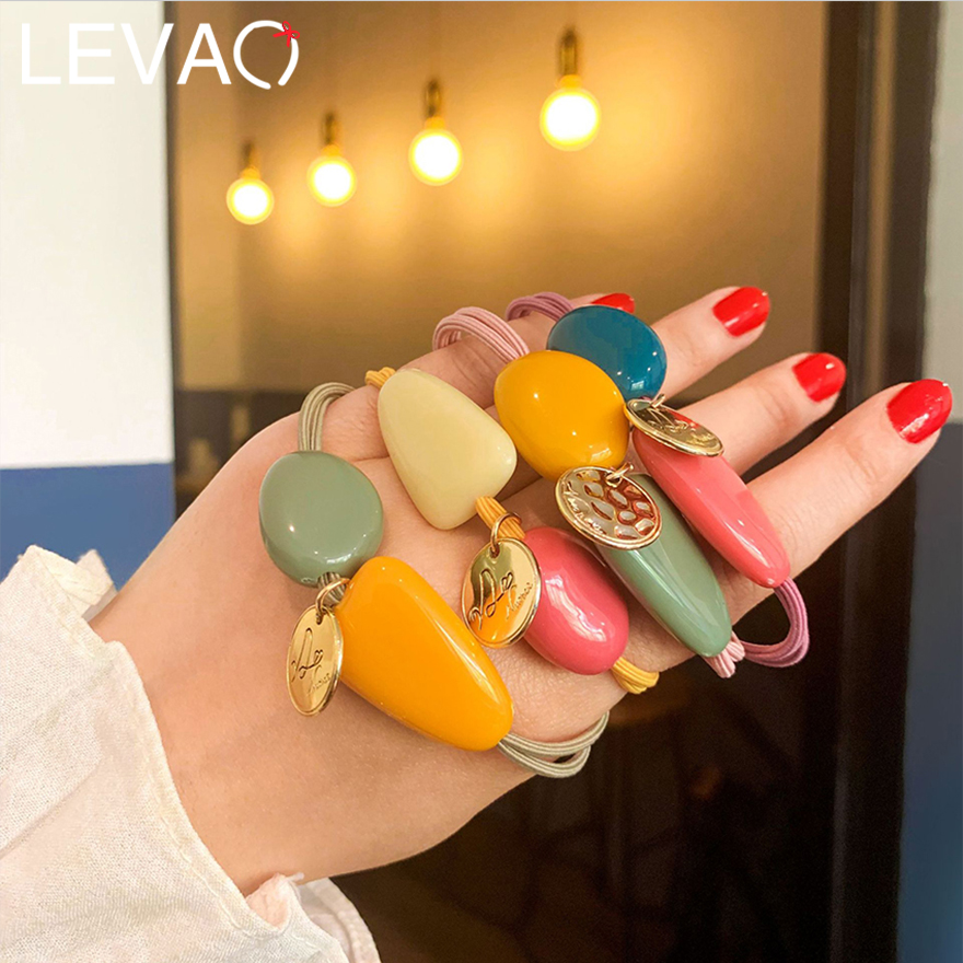 Levao Ins Style Candy Color Stone Hair Rope For Lovely Girls Korean Simple Geometric Elastic Hair Band For Women Hair Ornament