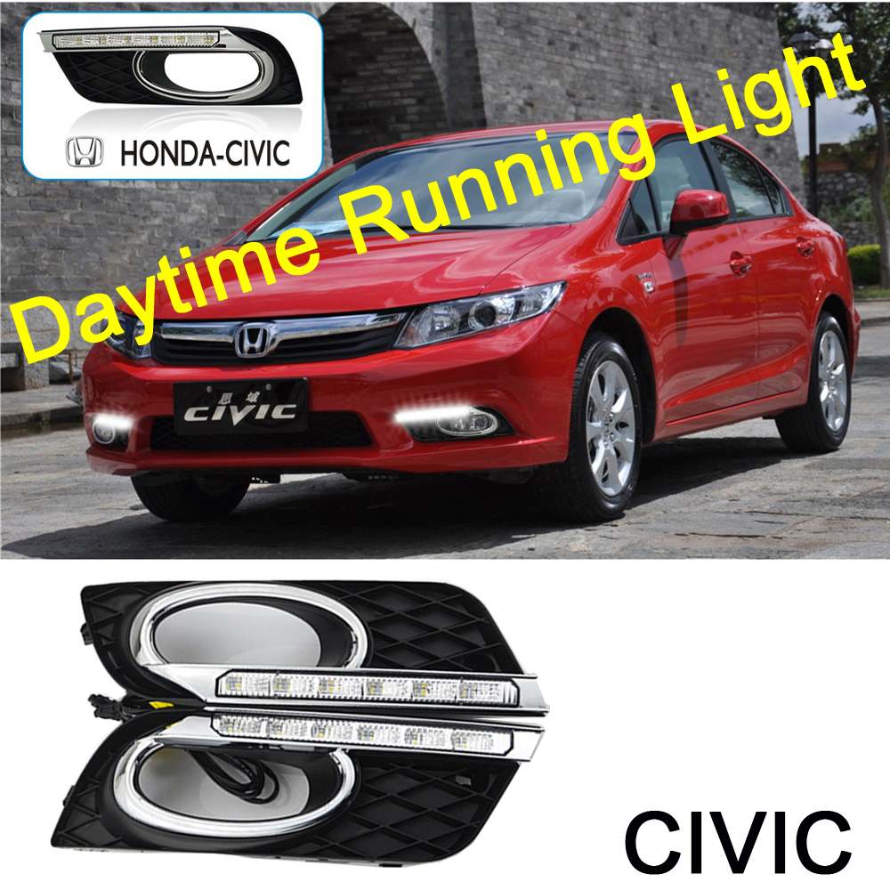 2Pcs/set Car-styling LED DRL Car Daylight Daytime Running Lights with Turn Signal Fog Lamp Covers For Honda Civic 2011 2012 2013 2pcs set car led drl daylight drl led daytime running lights fog lamp for ford focus 2 sedan 2009 2010 2011 202012 2013 2014