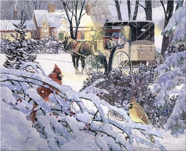 ⑤Envío Gratis pastoral invierno nieve pájaros paisaje lona ...