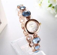 New Round Dial Quartz Women Watches Major Vintage Fashion Yellow Stone Bracelet Wristwatch Clock Hot Sale Reloj Drop Shipping