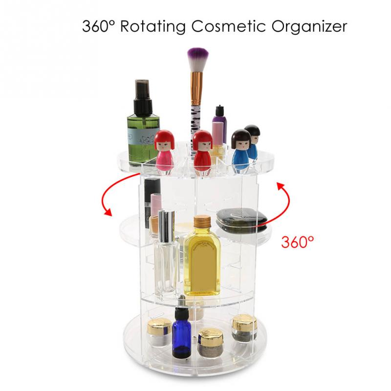 Makeup Brushes Organizer Storage Box Acrylic Cosmetic Container Spinning Brush Box Jewelry Nail Gel Polish Display Holder цена