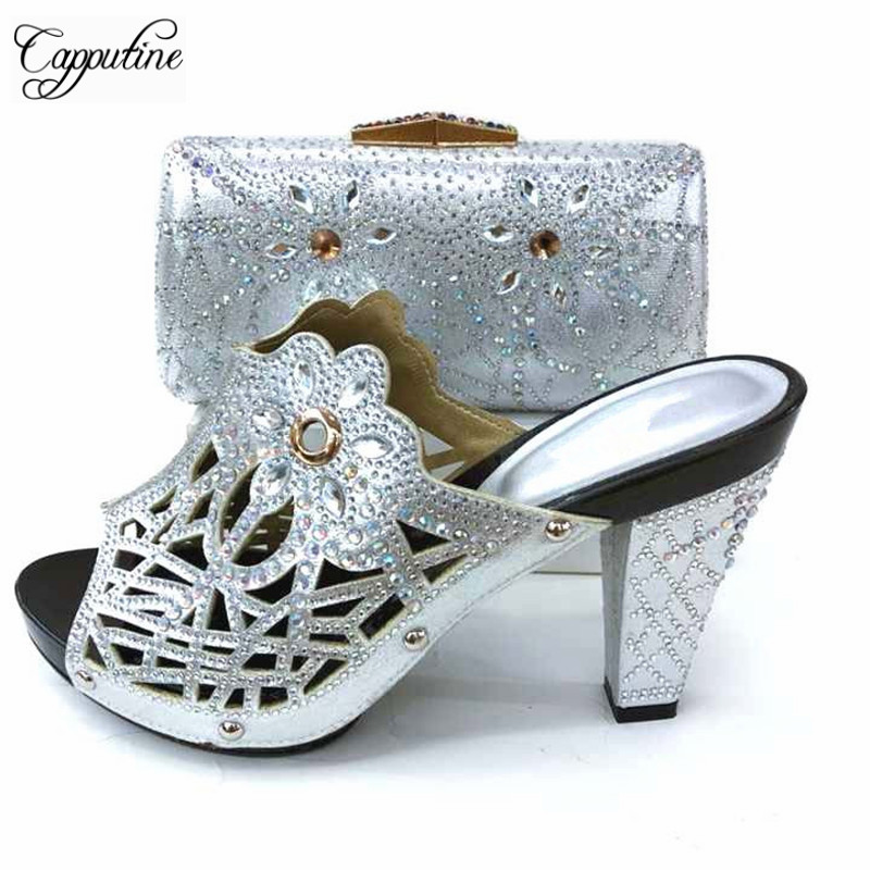 Capputine Nigerian Style Woman Shoes With Purse Set 2018 African High Heels Shoes And Bags Set For Party New Silver Color Shoes capputine european style elegant rhinestone shoes and bags set african style woman high heels shoes and bags for wedding party