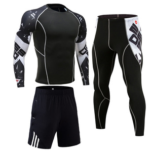 Image 5 - Compression Clothing Mens Sportwear Suit Jogging Thermal Underwear Suit MMA rashgard male Long sleeved tights leggings shorts