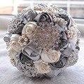 De lujo de Cristal Flores de La Boda Ramos de Novia 2016 Ventas Calientes Hechas A Mano Rose Rhinestone de La Flor Ramo De La Boda ramo de mariage