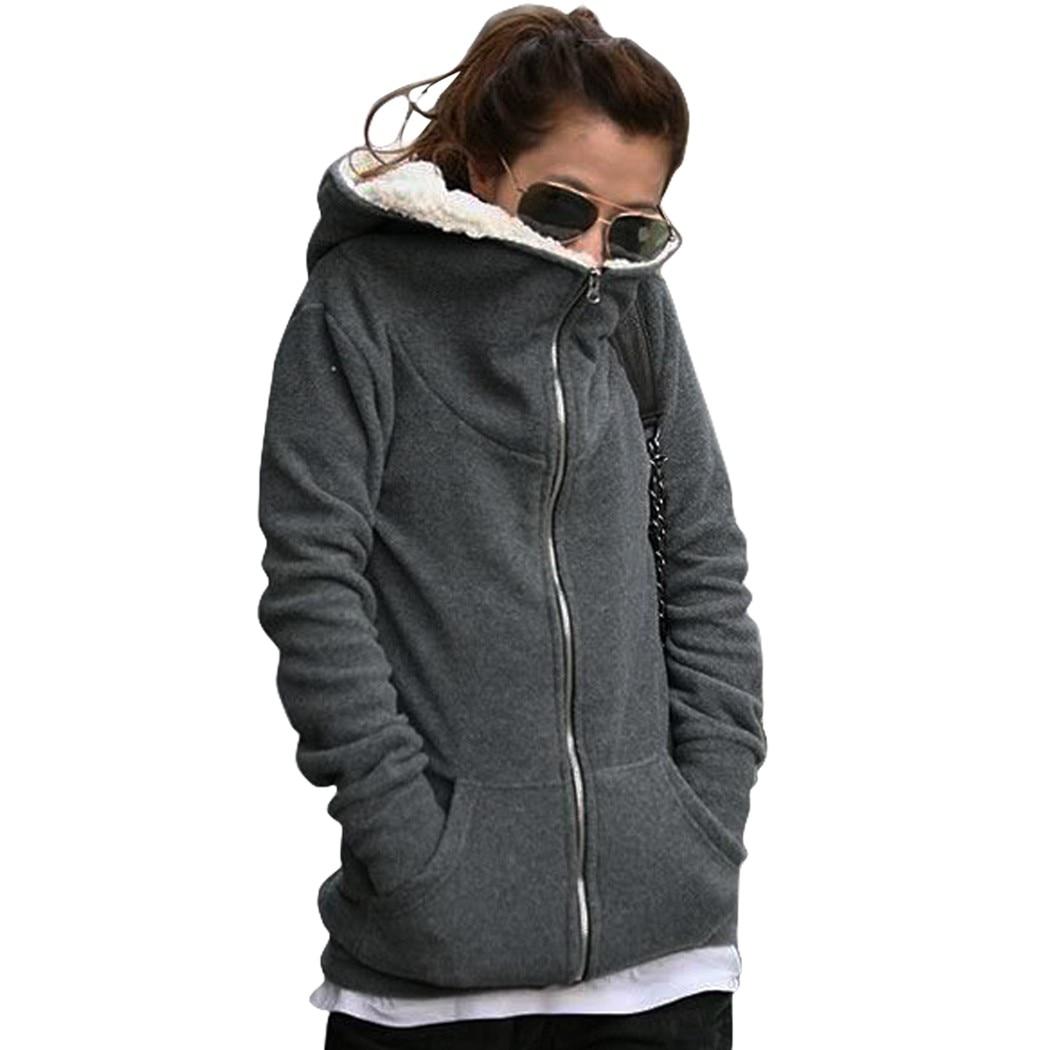 2016 mode femmes Zip Up hauts manteau à capuche veste d'extérieur sweat-shirt