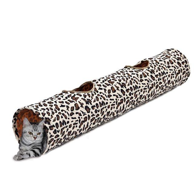 Túnel Do gato do animal de Estimação Brinquedos Do Gato da Cópia do Leopardo Crinkly Cat Fun 2 Furos Brinquedos Gatinho longo Túnel Jogar Divertido Brinquedo para Gatos Andando com Sons
