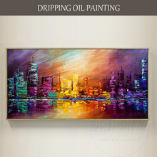 Professional Painter Hand-painted High Quality Vivid Color Abstract Cityscape Skyscraper Oil Painting City