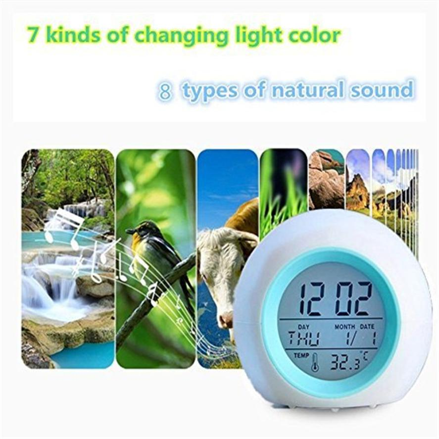 Alarm Clock 2018 Hot Home LED Wake Up Light Digital Clock with Temperature Display & Sound Fashion New Kid Room