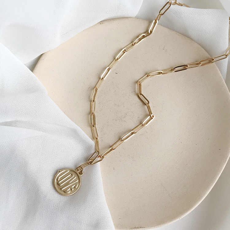 Kolor złoty łańcuszek naszyjnik z wisiorem w kształcie monety kobiety Choker 2019 nowy modny biżuteria hurtowych