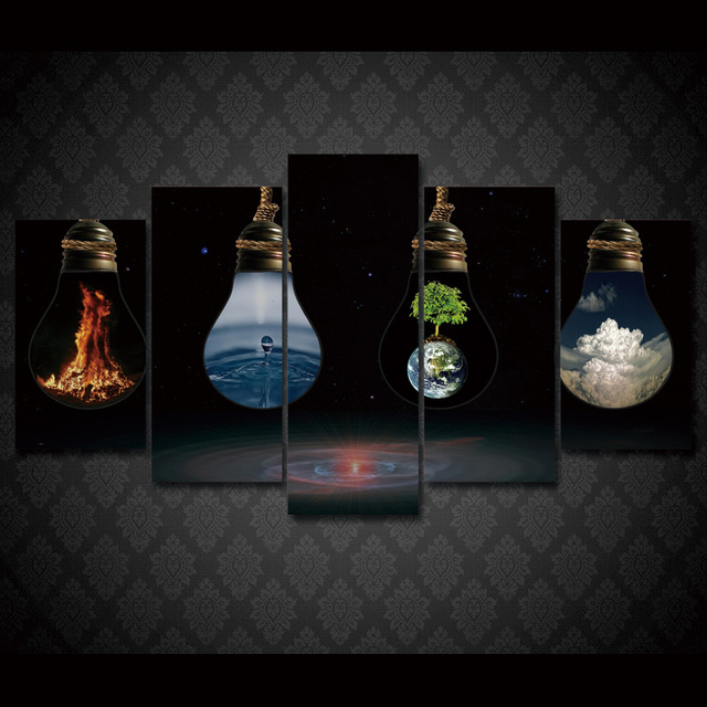Große Poster Hd Gedruckt Malerei 5 Panel Spezielle Lampe Landschaft