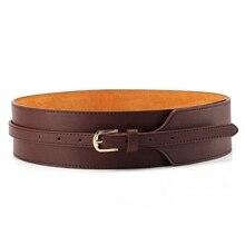 Trend Womens Genuine Leather Waist Belt Needle Buckle Waistband Female High Cummerbund Belts