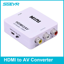 HDMI to RCA 1080P HDMI to AV 3RCA CVBs Composite Video Audio Converter Adapter Supporting PAL/NTSC with USB Charge Cable