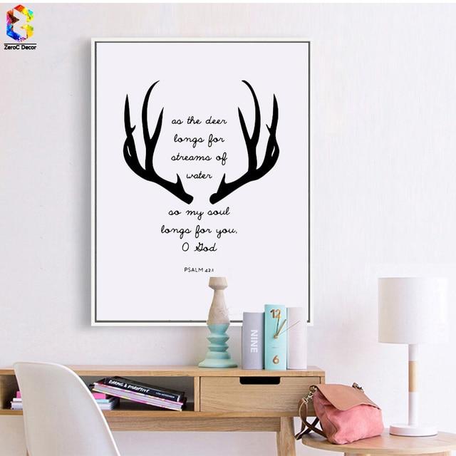 Schwarz Weiß Geweih Zitieren Kunstdruck Poster, Wandkunst Bild für ...