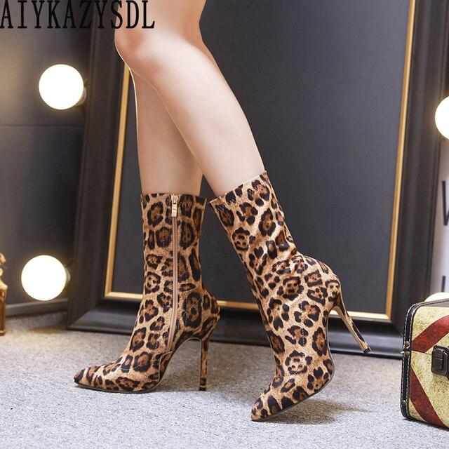 AIYKAZYSDL/ботинки с леопардовым принтом, женские ботильоны на шпильке, короткие ботинки на тонком высоком каблуке вечерние Клубные туфли-лодочки, Фетиш-туфли на шпильке