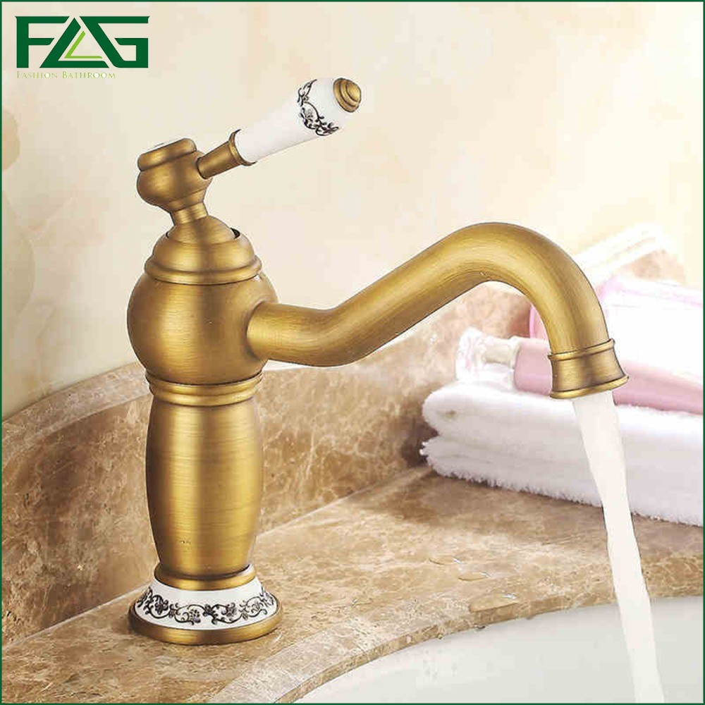 ФОТО FLG Basin Faucet Antique Brass Bathroom Basin Sink Faucet Long Spout White Painted Flower Porcelain Vintage Sink Basin Taps M168