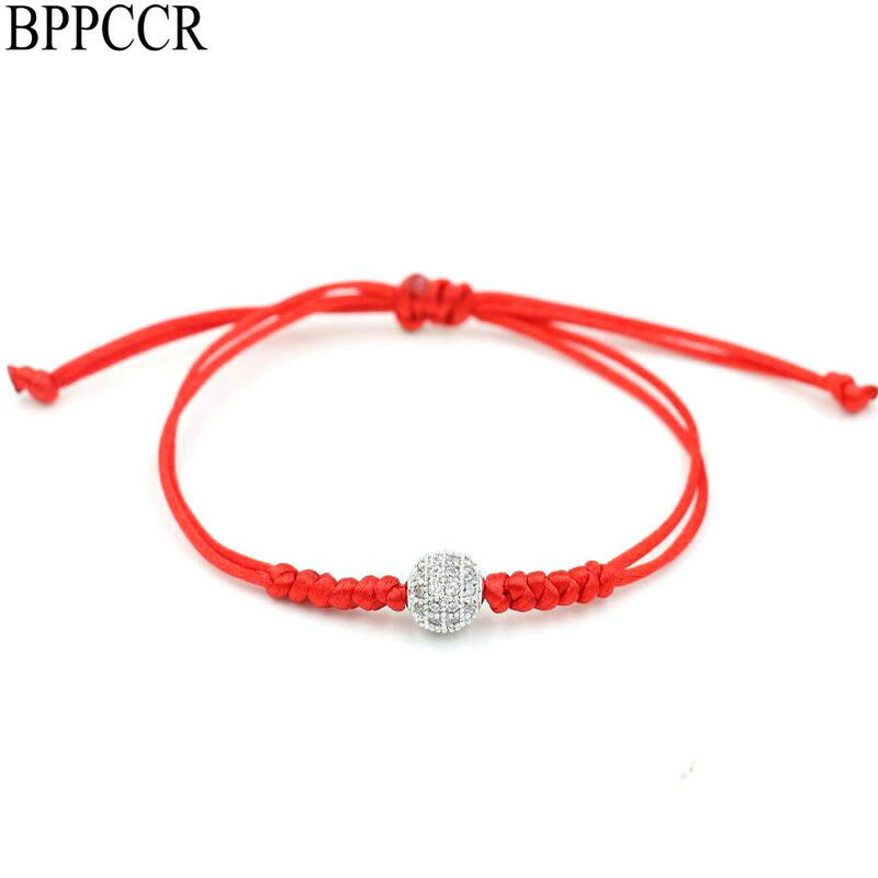 BPPCCR Minimalist Red Rope String Thread Braid Bracelets Zircon Balls Bracelet Female Mujer Pulseras Lucky Lovers Jewelry Gifts