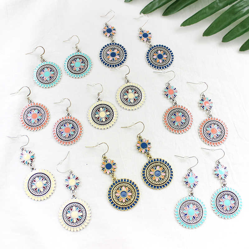 Personality Charm Color Flower Earrings Bohemian Sun Flower Double Pendant Ethnic Wind Earrings Beach Holiday Punk Retro Jewelry