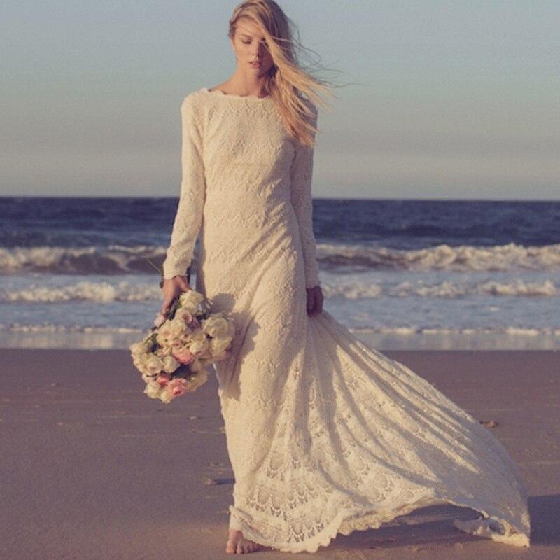 Vestidos Custom Made 2016 Long Sleeves Lace Beach Bohemian Wedding Dresses High quality Floor Length Romantic