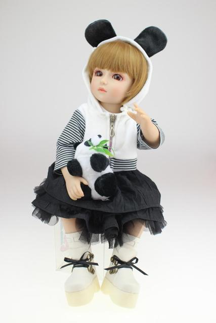 silicone baby dolls full body vinyl BJD can standing toys girls boys bjd doll boneca reborn juguetes 45cm baby alive white black