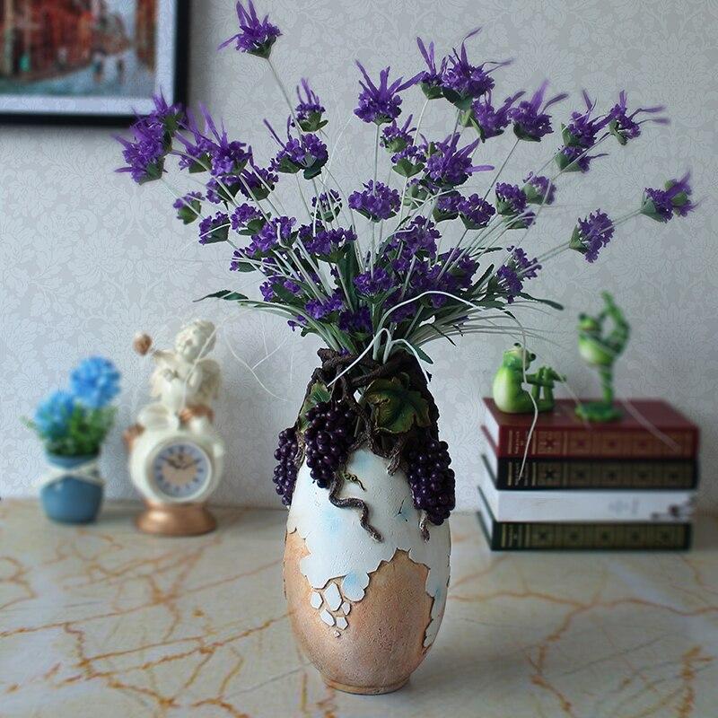 Modern Resin Creative Grape Rattan Flowers Vase Vintage Statue Home Decor Crafts Room Decoration Resin Large Floor Vases
