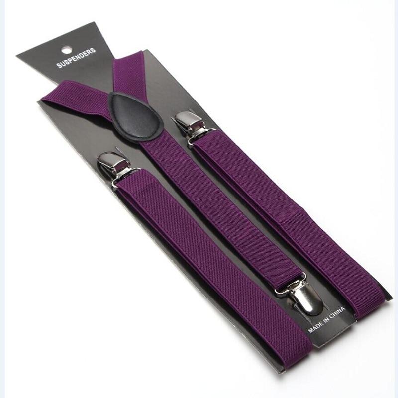 Women MenS Shirt Suspenders For Trousers Pant Holder 2.5cm Wide Dark Purple Clip-on Braces Elastic Slim Y- Back Wholesale Gallus