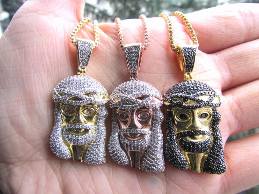 Wysokiej jakości 2016 nowy projekt złota hip hop bling biżuteria jezus box łańcuch micro pave naszyjnik dla mężczyzn