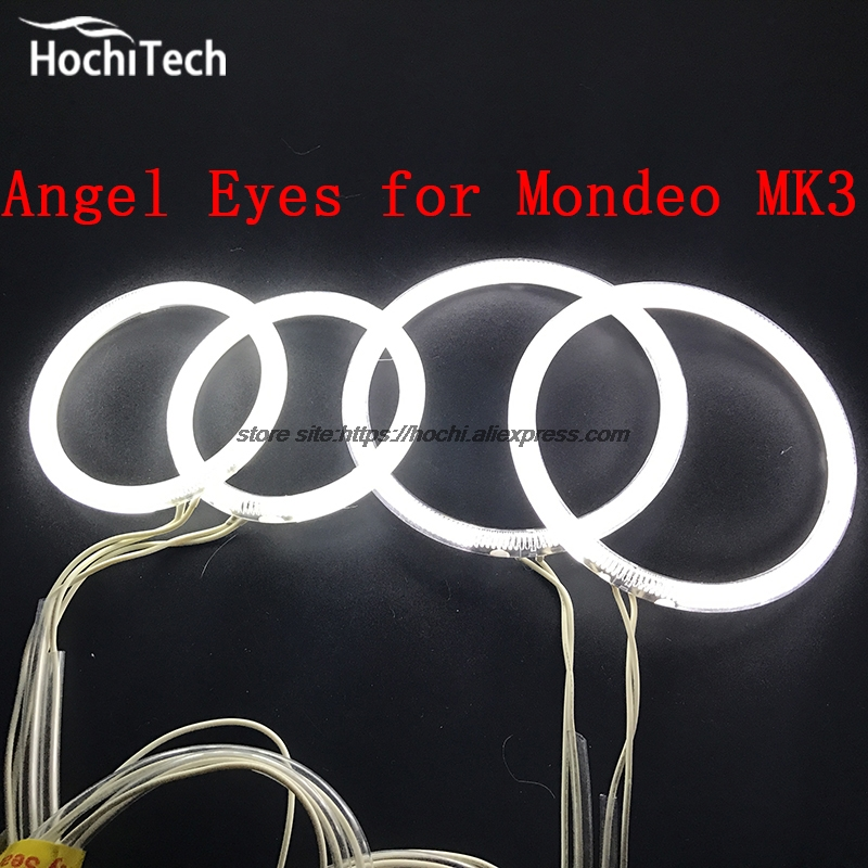 HochiTech ccfl angel eyes kit white 6000k ccfl halo rings headlight for FORD Mondeo MK3 2001 2003 2004 2005 2006 2007 for uaz patriot ccfl angel eyes rings kit non projector halo rings car eyes free shipping