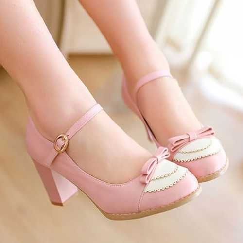 ФОТО 2015 Mary Janes Pumps Women Gladiator Thick Heel High Heels Little Sweet Bowtie Black White Color Mixed Pumps Wedding Shoes