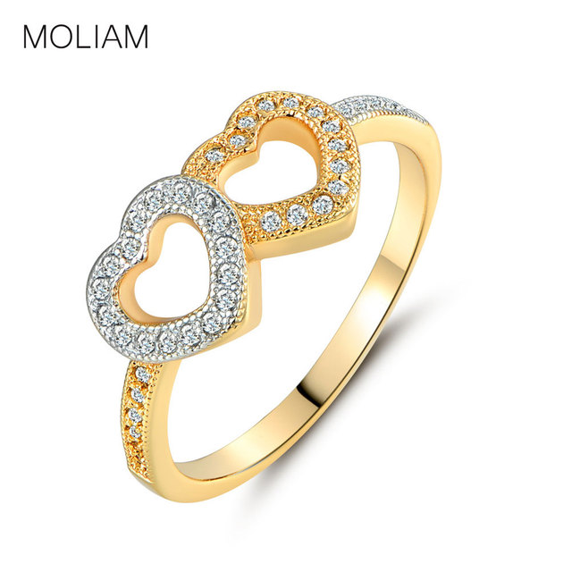 moliam fashion double heart love rings women gold color crystal zirconia wedding ring cz jewelry - Wedding Rings For Women Gold