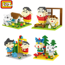 brinquedos anime figure crayon Shin chan loz blocks building blocks juguetes dynamic superman kids toys enlighten children gift