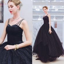 Black Ball Gown Evening Dresses 2019 Elegant Floor Length Long Spaghetti Straps Sequined Formal Party Prom Gowns Walk Beside You